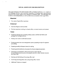 Legal Assistant Job Description Resume