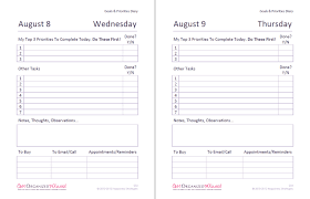 Goals And Priorities Diary Get Organized Wizard