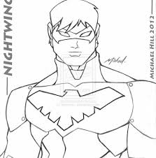 the nightwing coloring page free printable superhero pages 1152
