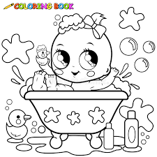 Small Picture Baby Girl Taking A Bath Coloring Page Stock Vector Image 57765108