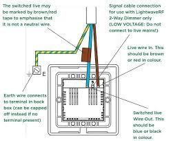 when wiring a lightwave rf master dimmer to a slave the voltage isn t mains voltage it s low voltage so be careful not to connect 240v into it otherwise