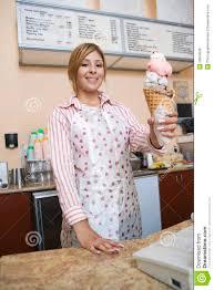 Ice Cream Server Woman Serving Ice Cream Stock Photo Image Of Server 29664558