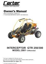 carter brothers manuals carter brothers interceptor gtr 250 differential user parts manual