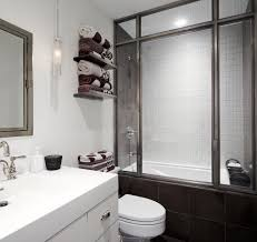 Japanese Style Tub Bathroom Contemporary with Floating Shelves Glass Gray