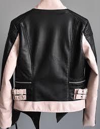 women s asymmetric punk er pink color leather jacket