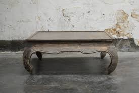 vintage square opium leg coffee table with original distressed weathered finish very handsome exceptional