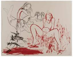 Rita Ackermann, Heroines 2, 2014, Ink, pigment on canvas, 230 x