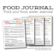 Food And Exercise Diary Updated Printable Food Journal