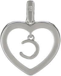 925 silver heart framed charm letter c pendant pd2