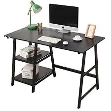 home office desk with hutch. Soges Computer Desk Trestle Writing Home Office Hutch Workstation With Shelf, Black 47