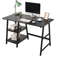trestle office desk. Soges Computer Desk Trestle Writing Home Office Hutch Workstation With Shelf, Black 47 T