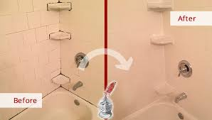 saving a tile shower and tub from further damage with our exton caulking service