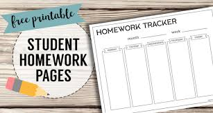 Free Printable Student Homework Planner Template Paper