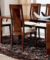 esf alf capri glossy dark walnut dining room set 8 pcs modern made in italy