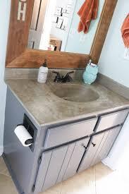 concrete overlay countertop tasha designer trapped diy concrete countertop feather finish bathroom vanity with integral sink