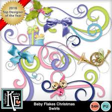 Christmas Swirls Digital Scrapbooking Kits Baby Flakes Christmas Swirls