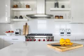 Chunky White Floating Shelves Chunky Glossy White Floating Cooktop Shelves Transitional Kitchen 31