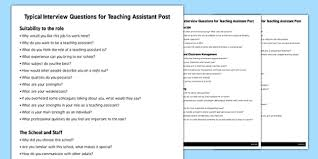 Assistant Interview Questions Teaching Assistant Interview Questions Interview Questions