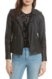 image of rebecca taylor washed leather moto jacket