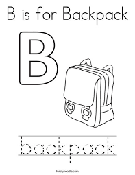 Small Picture B is for Backpack Coloring Page Twisty Noodle