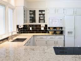 elegant white kitchen countertops design with window treatment