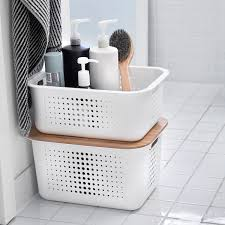 white nordic storage baskets with handles