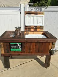Table Drinks Cooler Rustic Wooden Cooler Table Bar Cart Wine Bar With Mini Fridge