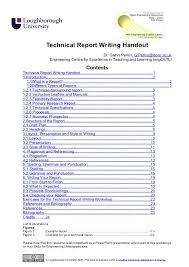 Engineering Technical Report Template Technical Report Writing