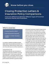 Closing Protection Letters and Ins Policy parison