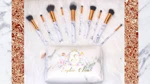 marble rose gold 10 piece makeup brush set sophie glam cosmetics