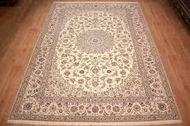 persian carpet nain 6la with silk 355x255 cm beige rteppich nain 60496