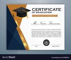 High School Diploma Certificate Template Design Vector Image On Vectorstock