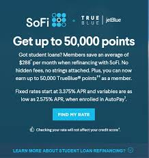 jetblue frequent flyer enrollment code up to 50 000 jetblue trueblue points for student loan refinance