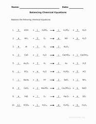 balancing chemical reactions worksheet 1 answers image collections
