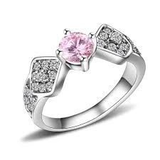round cut pink sapphire silver anium steel women s enement ring joancee jewelry