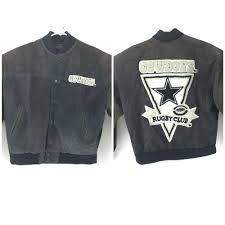details about g iii g 3 carl banks dallas cowboys rugby club leather wool jacket nfl size m