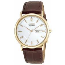 classic watches citizen watches men s brown leather strap watch