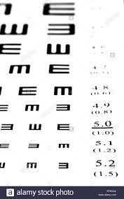 Eyesight Test Chart On White Background Close Up Stock Photo
