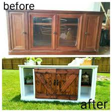 before and after furnitire flip barn doors tv stand console entertainment center diy furniture repurposehow