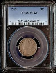 Details About 1912 Us 5c Liberty Head Nickel Pcgs Ms64
