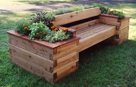 image of raised planter beds with bench