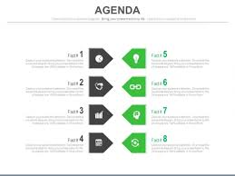 Agenda List List Of Eight Agenda Points And Icons Powerpoint Slides