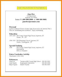 Resume For No Work Experience High School Resume Template No Experience Student Bitacorita