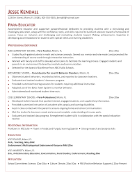 Para Educator Resume Samples