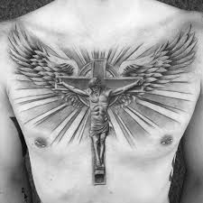 cross chest tattoo designs. Simple Cross Awesome Guys Jesus Christ On Cross With Wings And Sun Rays Chest Tattoo Inside Designs H