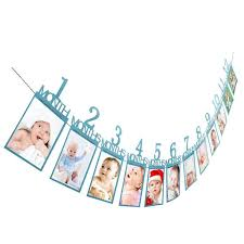 best diy 1 12 month photo banner baby first birthday recording garlands monthly bunting decor