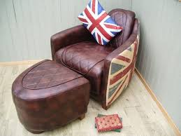 stunning halo aviator bonded leather and material union jack chair