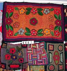 hand folk art area rugs hooked wool rug blooming cactus accent