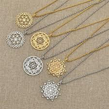 vinatge flower of life mandala necklace pendant sacred geometry jewelry gifts