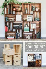 diy book shelves with wooden crates tutorial in crate